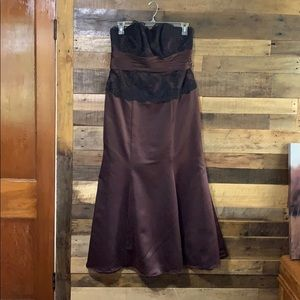 Chocolate Brown & Black Lace Bridesmaid Dress 18